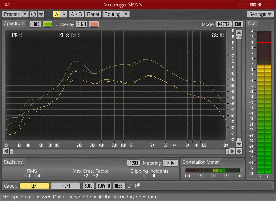 Ilmainen Voxengo SPAN on kenties hyödyllisin koskaan julkaistu ilmainen VST-efekti. Maksullisessa versiossa on mahdollista tarkastella usean eri kanavan spektrejä yhtä aikaa.