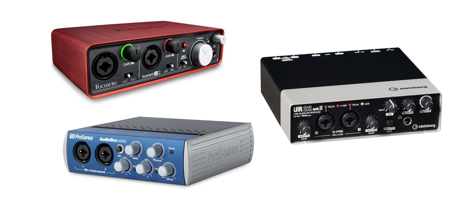 USB2 äänikortteja: Focusrite Scarlett 2i2, Presonus Audiobox 22VSL, Steinberg UR22