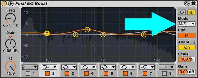 Stereokuvan hallinta onnistuu yllättävän monella efektillä ilman erillisiä työkaluja. Esimerkiksi Ableton Live 9 eq:ssa on sisäänrakennettu tuki M/S prosessoinnille.